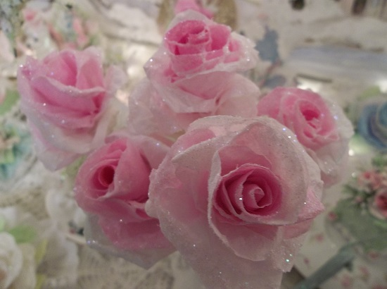 (Frosty Francine) 5 Glittered Handmade Paper Roses On Stems