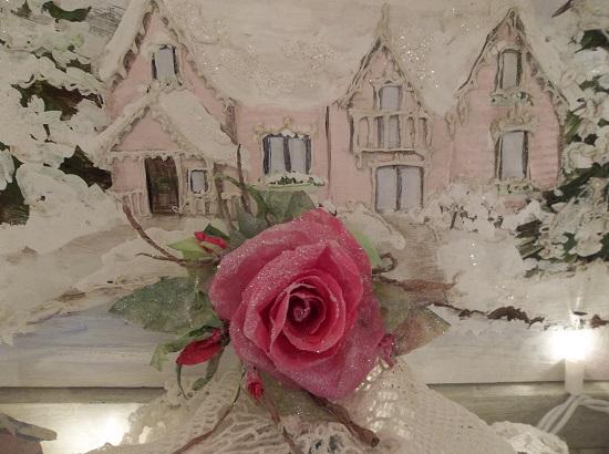 (Wanda Renee) Glittered Handmade Paper Rose Clip