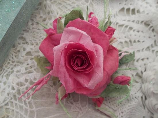 (Talaunie) Handmade Paper Rose Clip