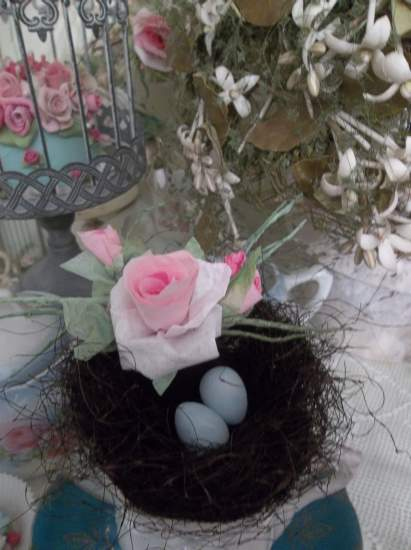 (Robin) bird nest , eggs , cottage & cabin decor , rose cottage style , rustic ,county decor , weathered , feathered  friend  style art