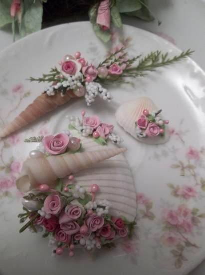 (Roshell) Mini Marvel Decorated  Sea Shells  Beach Decor  Wedding Natural , Pearls , Roses Art