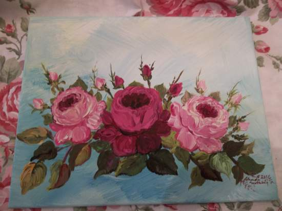 (Truest Roses) Original acrylic painting by Rhonda Motteberg on stretched Canvas