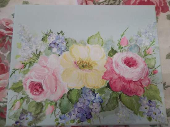 (Vintage Violets & Roses) Original acrylic painting by Rhonda Motteberg on stretched Canvas