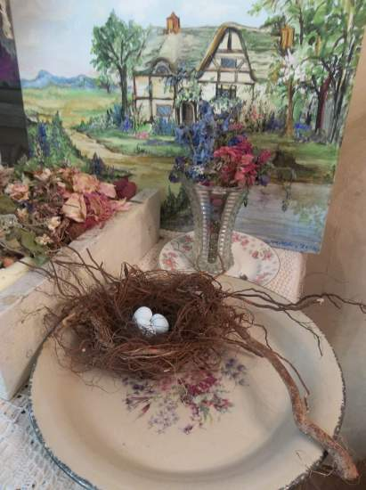 (Twiggie)A bird nest , eggs , cottage & cabin decor , rose cottage style , rustic ,county decor , weathered , feathered friend style art