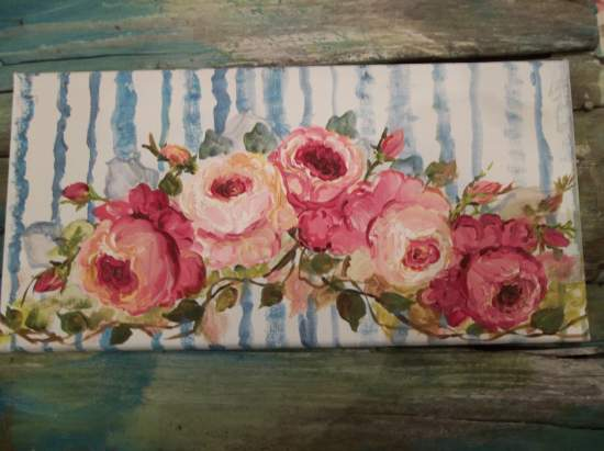 (French Ribbon And Garlands Of Roses) Original acrylic painting by Rhonda Motteberg on stretched Canvas