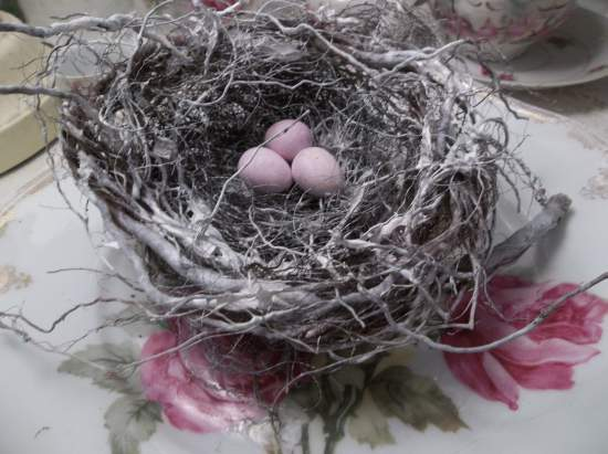 (NestC) bird nest , eggs , cottage & cabin decor , rose cottage style , rustic ,county decor , weathered , feathered friend style art