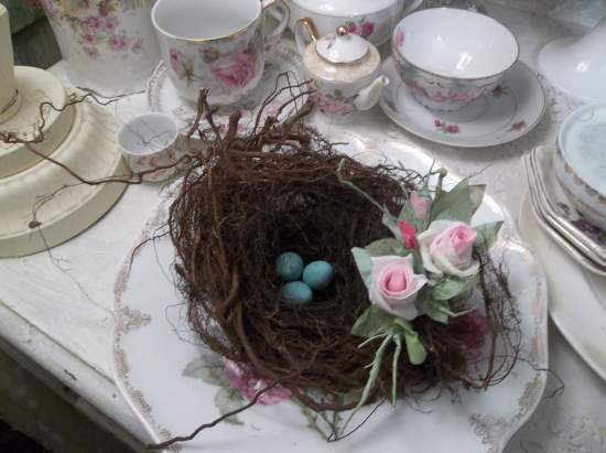 (NestG) bird nest , eggs , cottage & cabin decor , rose cottage style , rustic ,county decor , weathered , feathered friend style art
