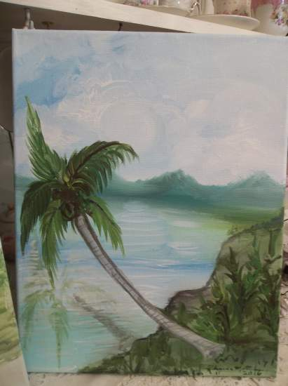 (One Palm Paradise) Original acrylic painting by Rhonda Motteberg on stretched canvas