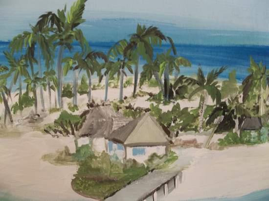 (South Sea Island) Original acrylic painting by Rhonda Motteberg on Plywood