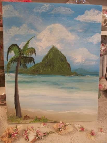 (South Sea) Original acrylic painting by Rhonda Motteberg on stretched canvas