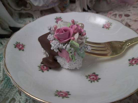 (Chocolate Slide) Decorated Fork, Bite Of Fake Cake