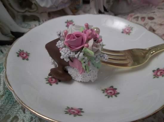(Chocolate Slide) Decorated Fork, Bite Of Fake Cake