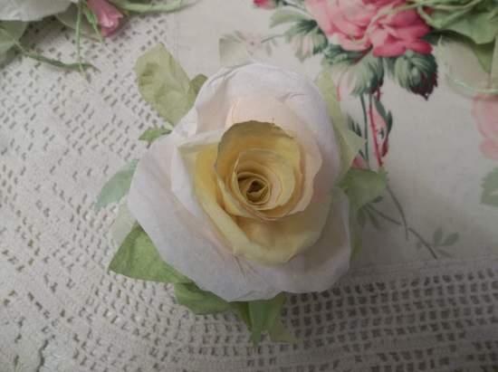 (Sheryl La Vaughn)  Handmade Paper Rose Clip