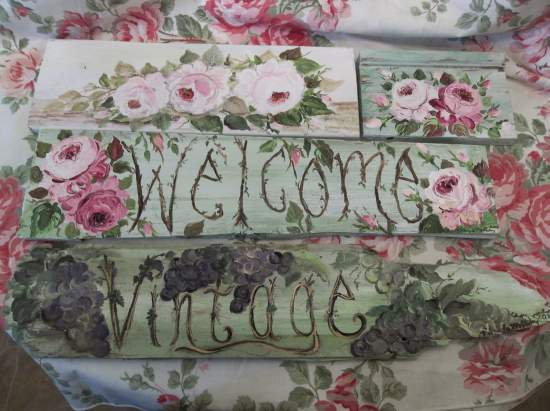 (Vintage Grapes) Handpainted Sign