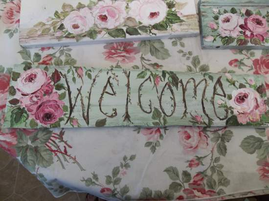 (Welcome Green) Handpainted Sign