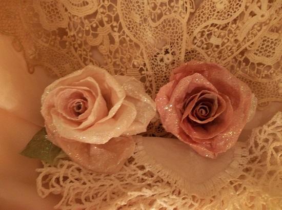 (Cora) Glittered Handmade Paper Rose