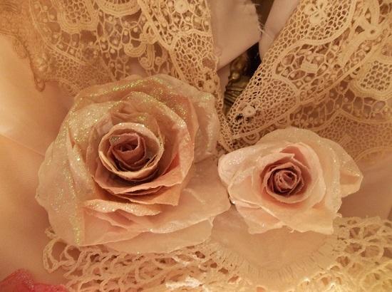 (Gloria) Glittered Handmade Paper Rose