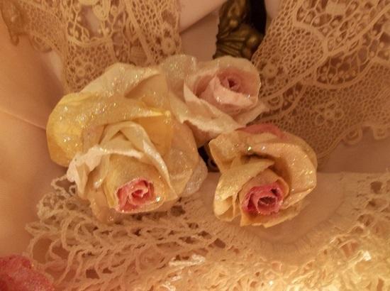 (Inga) Set Of 3 Glittered Handmade Paper Roses