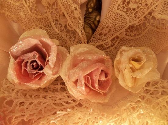 (Jillian) Set Of 3 Glittered Handmade Paper Roses