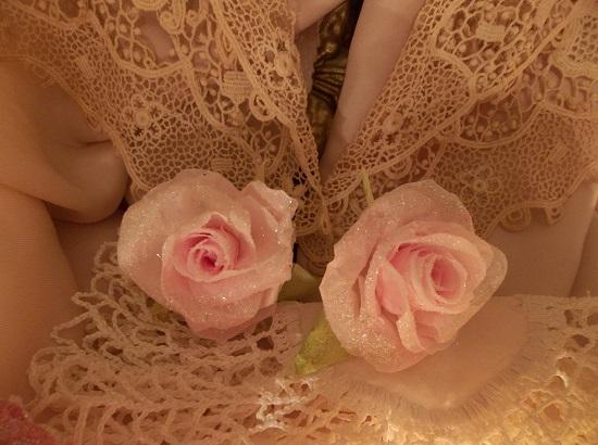 (Kayla) Set Of 2 Glittered Handmade Paper Roses