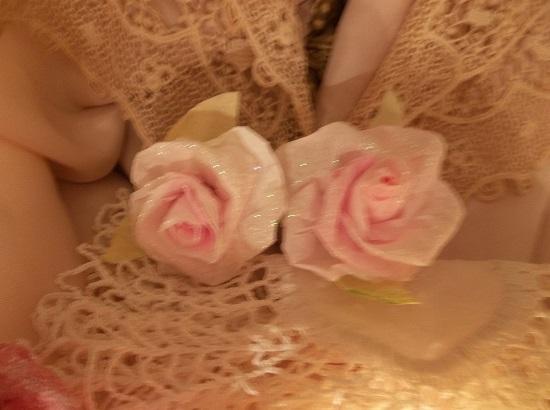 (Linda) Set Of 2 Glittered Handmade Paper Roses