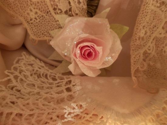 (Mindy) Glittered Handmade Paper Rose