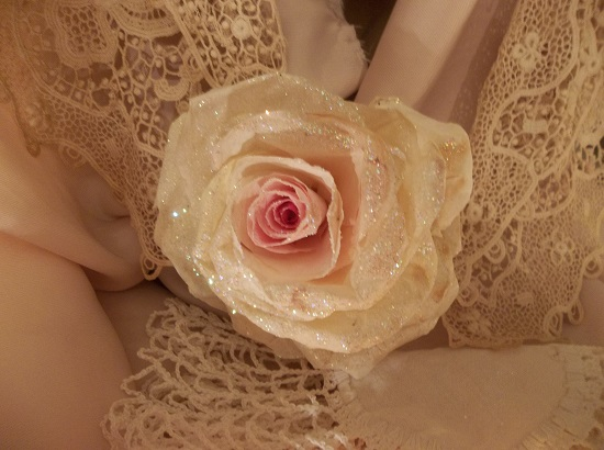(Rhonda) Glittered Handmade Paper Rose
