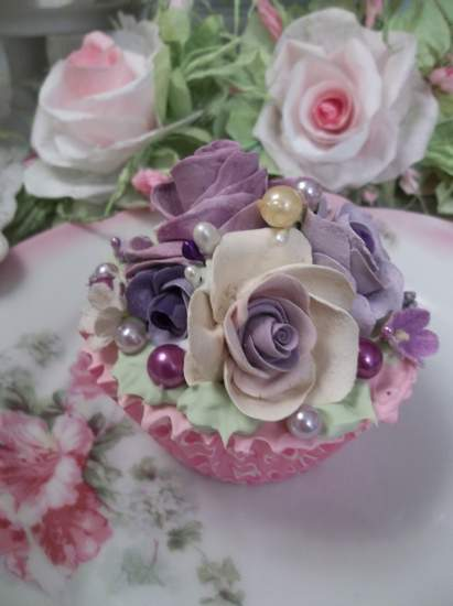 (French Lavender Pearl) Fake Cupcake