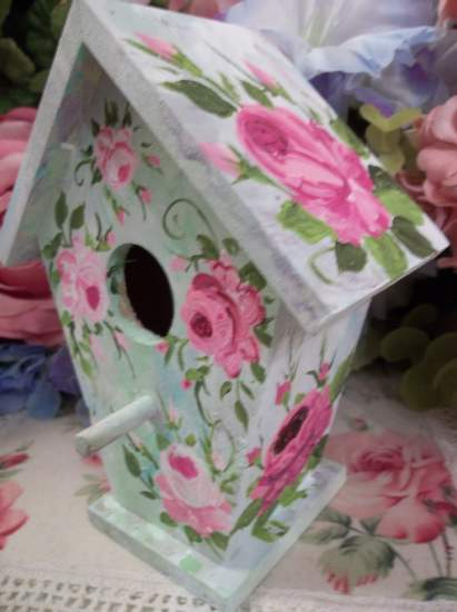 (Feather) Handpainted Bird House