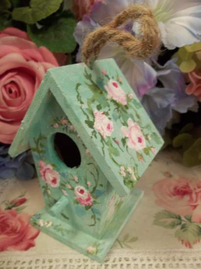 (Robin Egg Blue Green) Handpainted Bird House