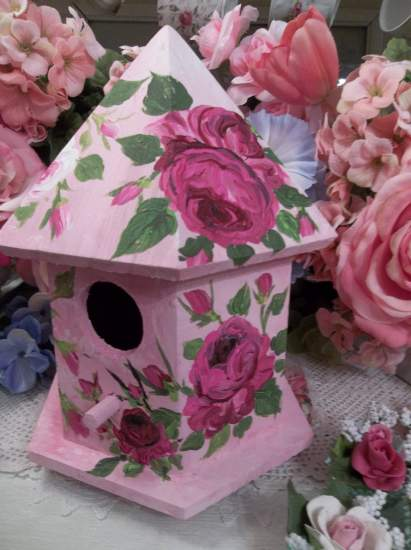 (Raspberry Cream) Handpainted Bird House