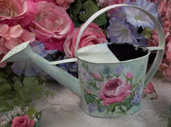 (Mary Mary Quite Contrary) Handpainted Watering Can