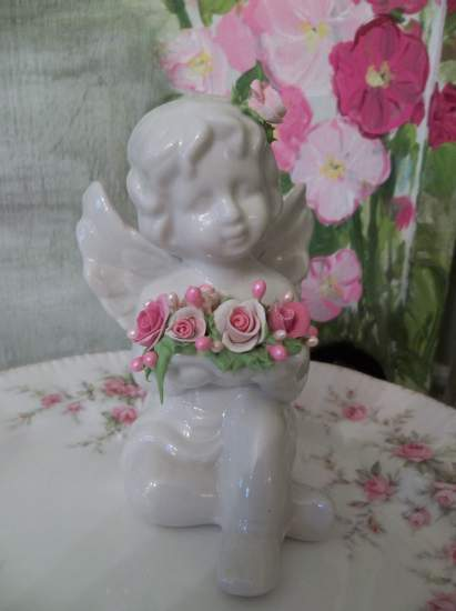 (Angella) Pretty ceramic Angel, Cupid Holding Handmade Clay Roses! Victorian, Valentine's Day, Romantic, Decor., A Perfect Little Angel!