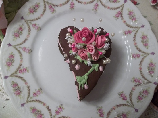 (Star Struck Arrow To My Chocolate Lovin Heart!) Heart Shaped Fake Cake Slice