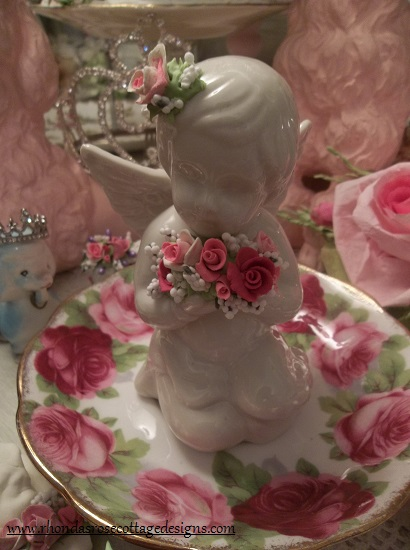 (Carla Cupid) Pretty ceramic Angel, Cupid Holding Handmade Clay Roses! Victorian, Valentine's Day, Romantic, Decor., A Perfect Little Angel!