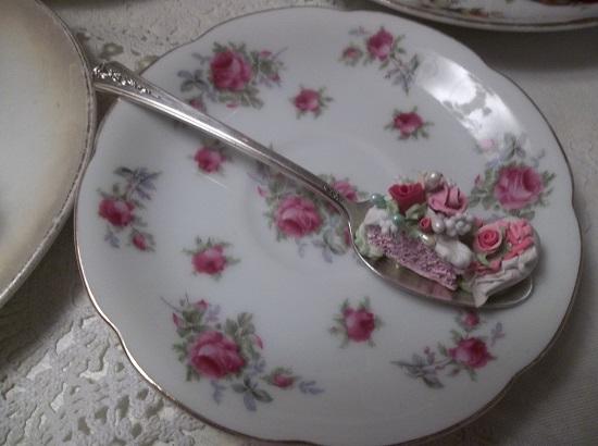 (Little Slice And Sprinkled Heart) Vintage Teaspoon Decoration