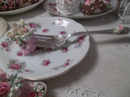 (Vintage Valerie) Very Vintage Fork, Bite Of Fake Cake