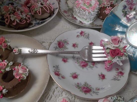 (Frances) Vintage Fork, Bite Of Fake Cake