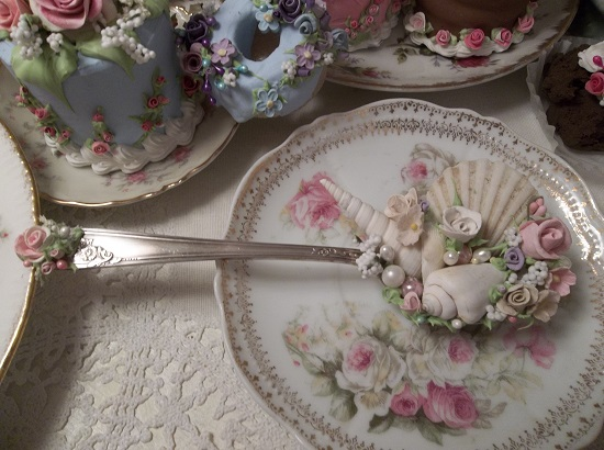 (Michelle) Vintage Decorated Soup Spoon