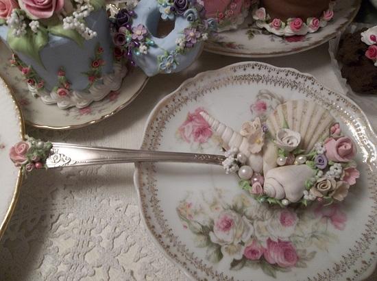 (Michelle) Vintage Decorated Soup Spoon