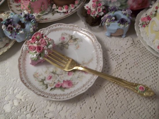 (Goldie) Decorated Fork, Bite Of Fake Cake