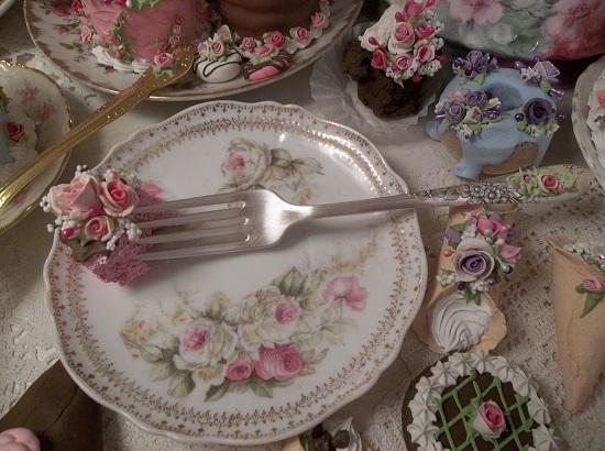 (Pauline) Vintage Fork, Bite Of Fake Cake