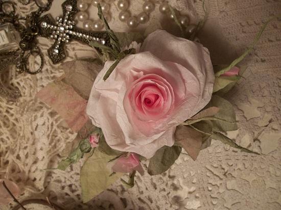 (Rose Dream) Handmade Paper Rose Clip