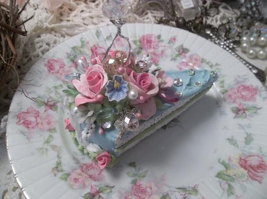 (Sparkling Skylar) Fake Cake Slice, Hanging Slice Of Cake Ornament
