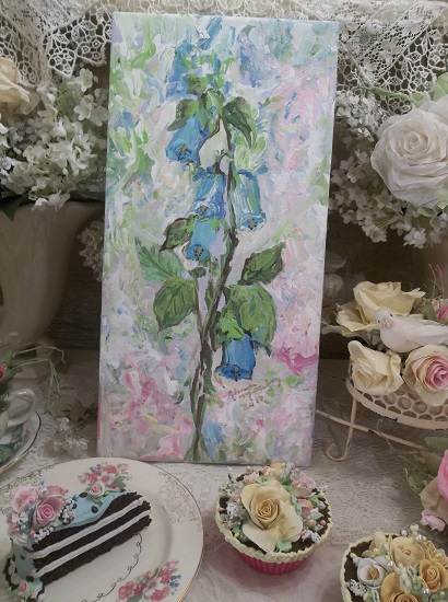 (Fox Gloves) Original acrylic painting by Rhonda Motteberg on stretched Canvas