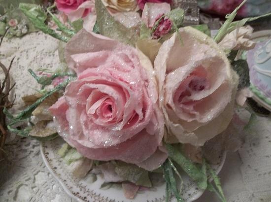 (Antique Christmas Time) Handmade Paper Rose Clip