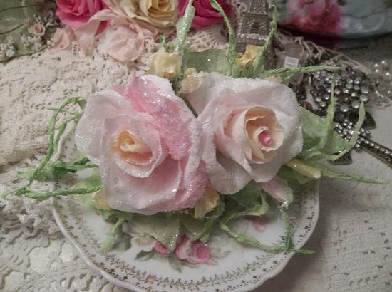 (Sunshine In Wintertime) Handmade Paper Rose Clip