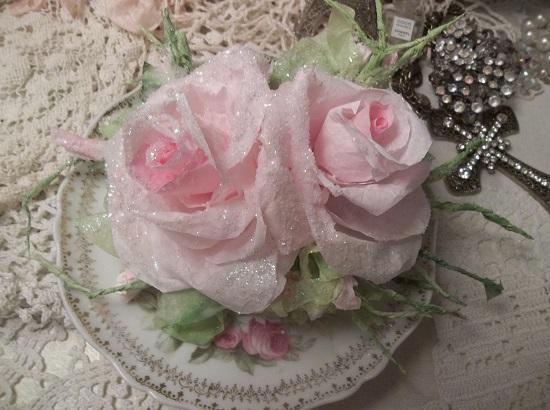 (Pink Christmas) Handmade Paper Rose Clip