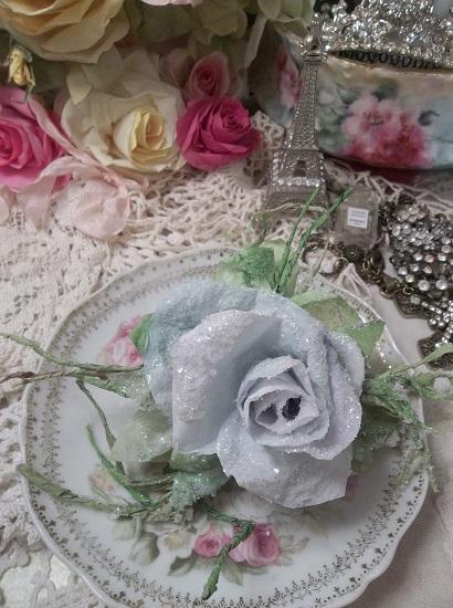 (Paris In Winter) GLITTERED  Handmade Paper Rose Clip