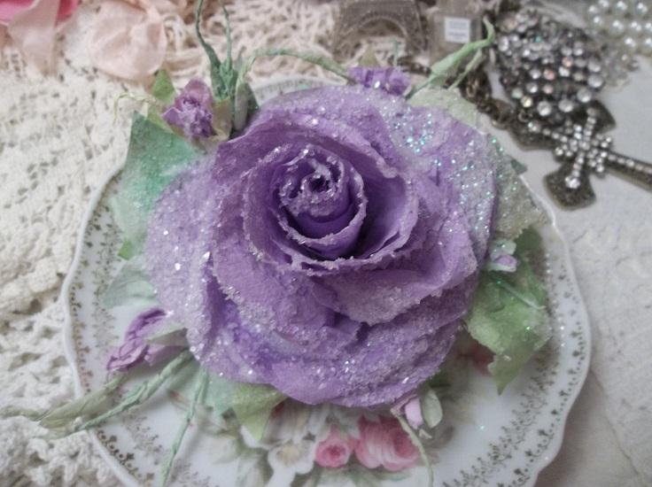 (Lavender Frost) Handmade Paper Rose Clip